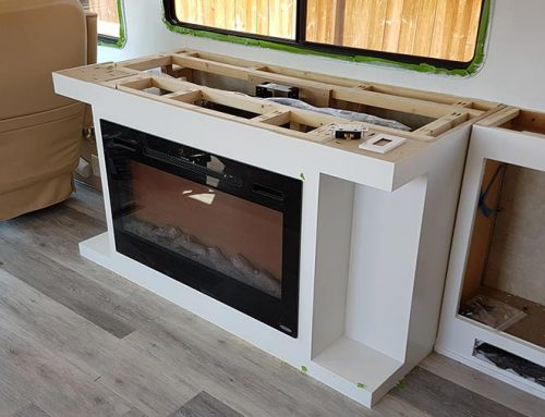 RV Media Center with Fireplace and TV Lift