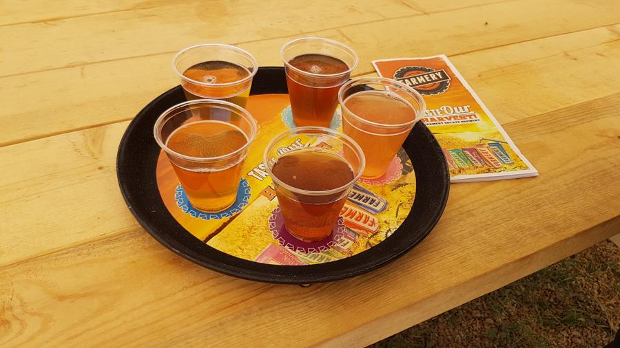 Sampling the beer at Framery Brewery in Manitoba
