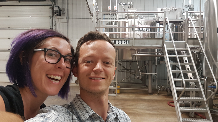 Leanne and Kevin in the Farmery Brewery