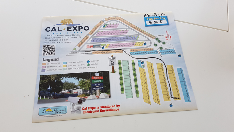 A picture of the Cal Expo RV Park map
