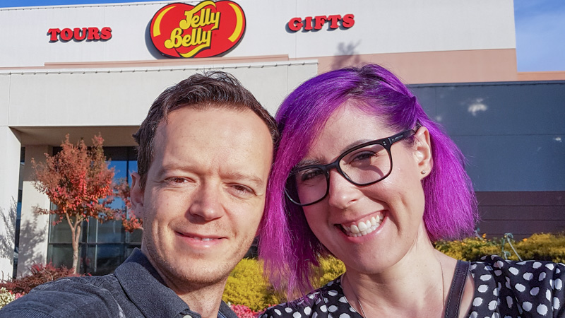 Leanne and Kevin in front of the Jelly Belly factory in California