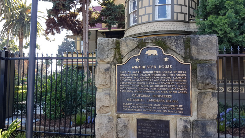 At the entrance of the Winchester House