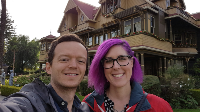 Leanne and Kevin in San Jose in front of the Winchester House