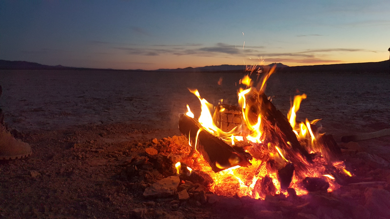 Campfire by the Silurian Hills, near Baker, CA