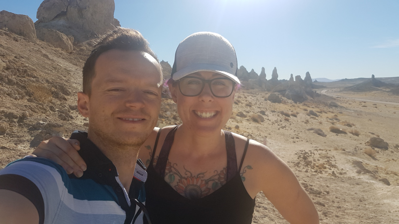 Leanne and Kevin at the Trona Pinnacles