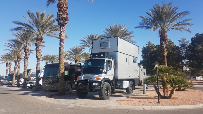 Global Expedition Vehicle at Oasis RV Park in Las Vegas