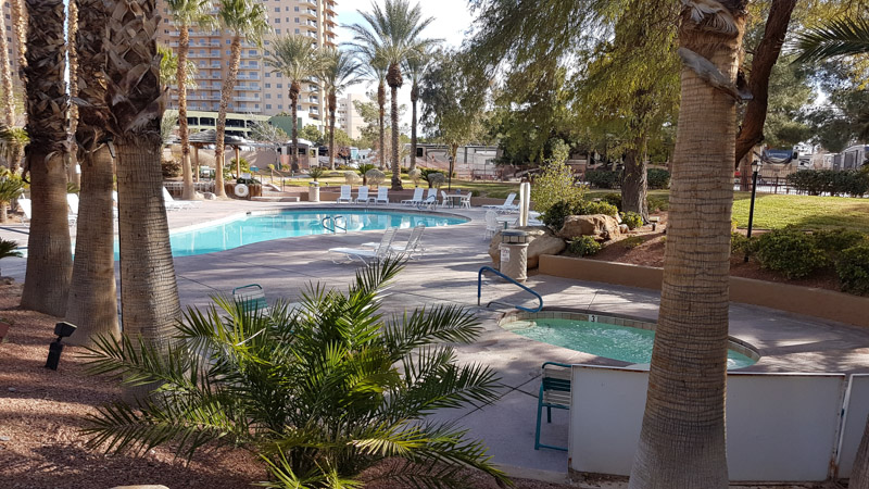 The adult pool and hot tub at Oasis RV Park