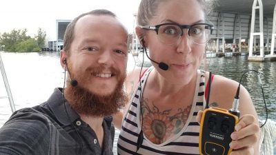 Leanne and Kevin with Vokkero Guardian headsets