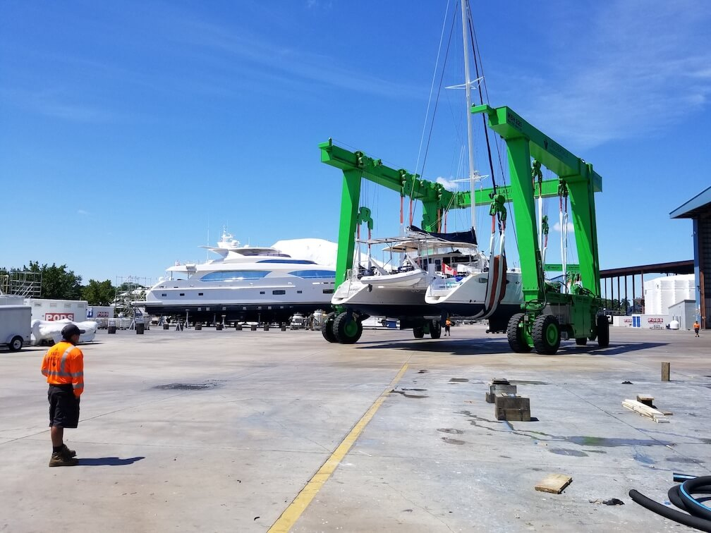 Seamlessly being hauled out at LMC in Fort Lauderdale