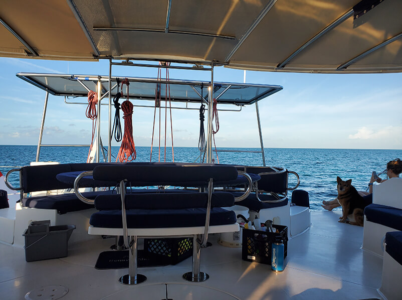 The back deck of our sailing catamaran