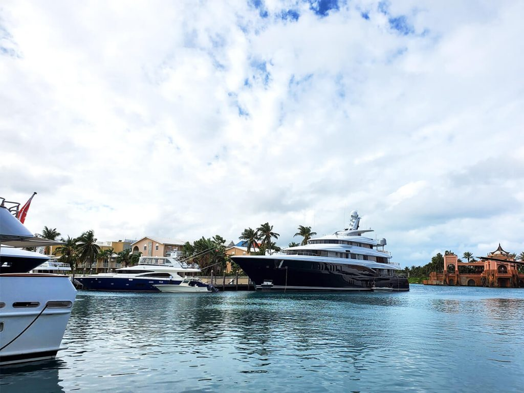 Super yacht moored at Atlantis marina