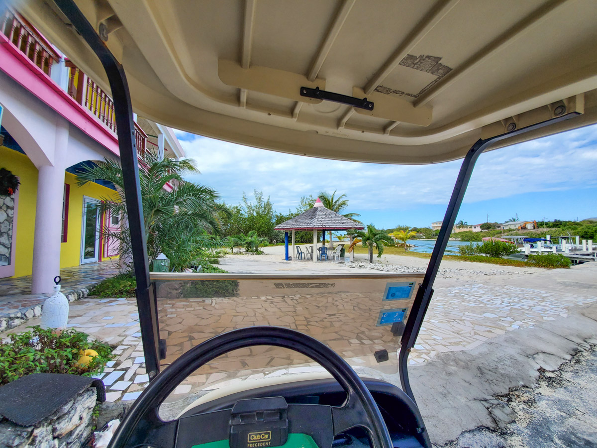 Exploring Staniel Cay via golf cart!