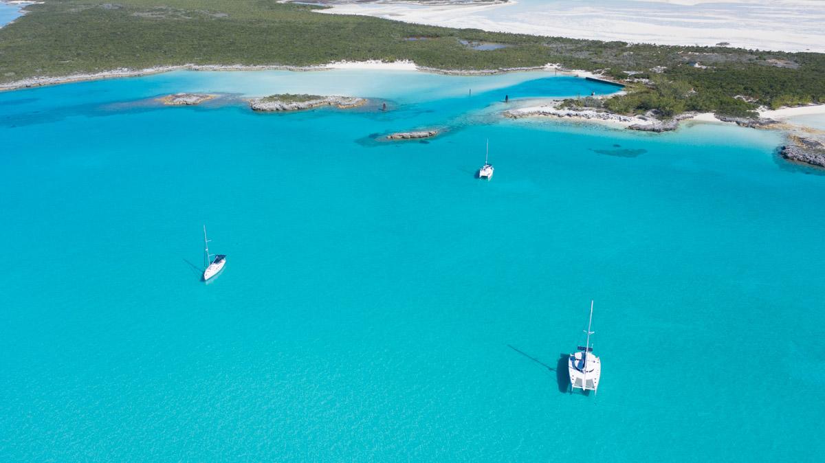 SV Seamlessly anchored at Pipe Cay, Bahamas
