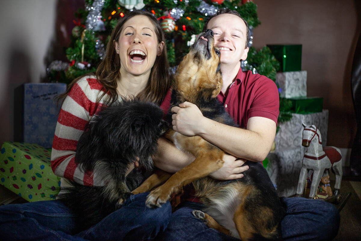 Christmas photo with Pebbles and Lexy