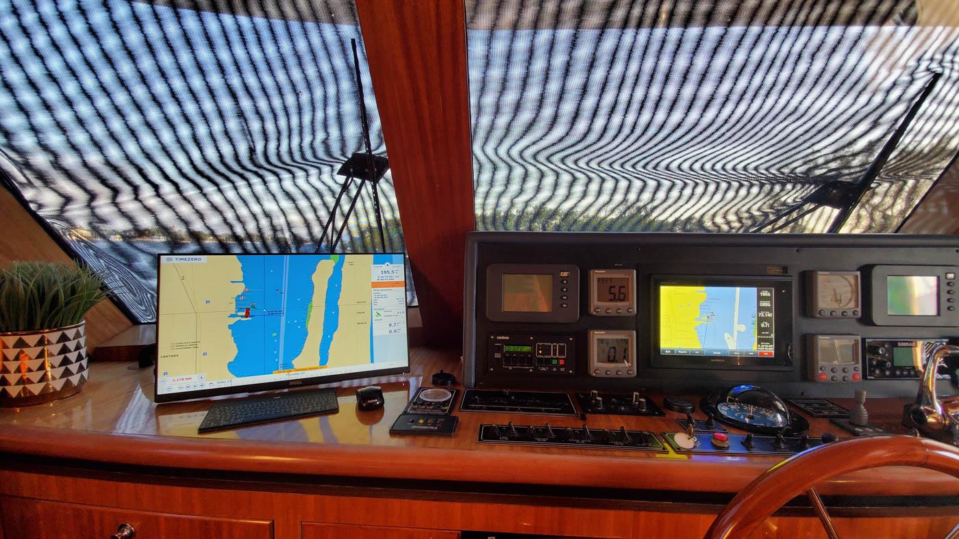 Pilothouse on trawler Patience with TimeZero
