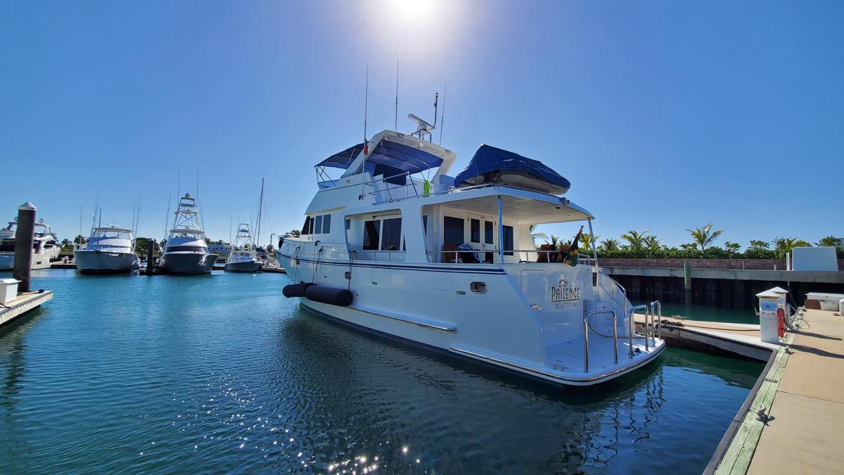 Trawler yacht in marina