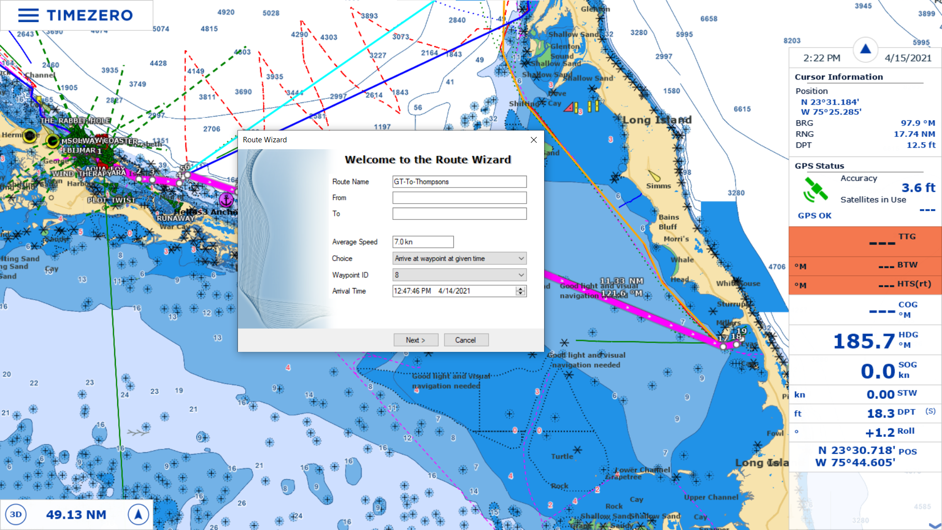 The route planning wizard in TimeZero